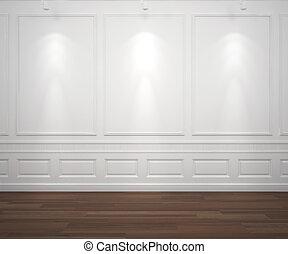spotslight on white classis wall - interior scene of classic...