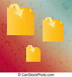 spotted background and yellow paper with arrow