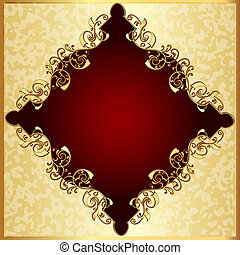 spotted background with red frame with gold(en) pattern