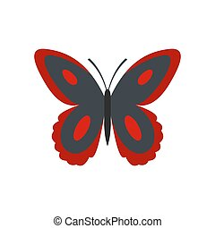 Spotted butterfly icon, flat style.