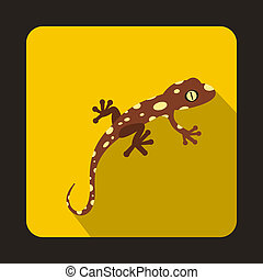 Spotted chameleon icon, flat style