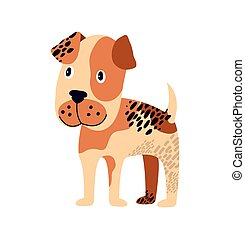 Spotted Dog of Brown Color on Vector Illustration