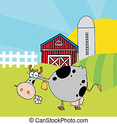 Cartoon Character Cow Different Color Gray In Front Of Country Farm