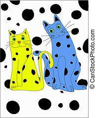 Spotted Kitties - An illustration of two cute spotted cats ...