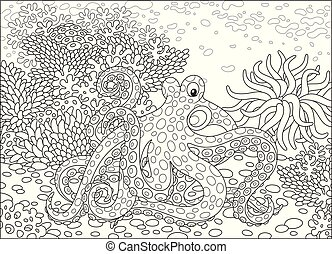 A big devilfish, an actinia and corals on a tropical reef, a black and white vector illustration in cartoon style for a coloring book