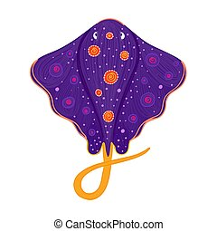 Spotted stingray. Sea ray. Marine life. Underwater creatures. Design for attributes of water park and aquarium