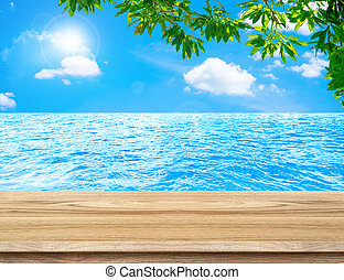 spotten, boompje, op, lege, hemel, hout, zee, display, tafel, product, blad, achtergrond