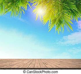 spotten, of, vloer, montage, zon, bladeren, werken, hemel, jouw, blule, hout, groene, display, achtergrond, licht, bamboe, plank, lege
