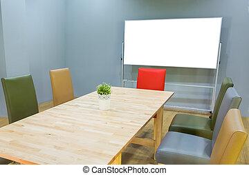 spotten, op, witte raad, in, vergaderruimte, met, conferentie tafel