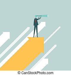 Spotter on an Arrow - Vector illustration of a businessman...