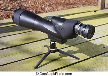 Spotting scope - High powered spotting scope set up on a...