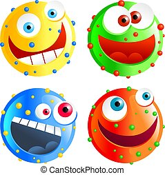 spotty smilies - set of colourful funny cartoon spotty ...