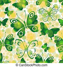 Spotty spring seamless pattern with green butterflies - ...