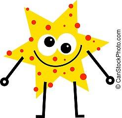 spotty star - funny cartoon star man with spotty face