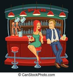 spotyka, kobieta, bar, ilustracja, rysunek, człowiek