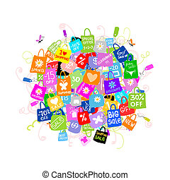 spousta, pojem, nakupování, big, prodej, design, tvůj