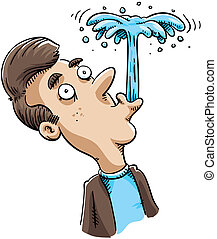A cartoon man blows a spout of water from his mouth.