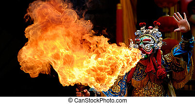 spouting fire of chinese opera - a chinese traditional actor...