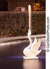 spouting, witte zwaan, van, forsyth, park, fontijn, savanne, ga
