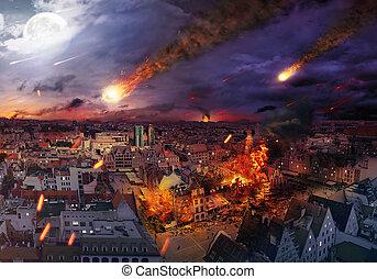 spowodowany, apokalipsa, meteoryt