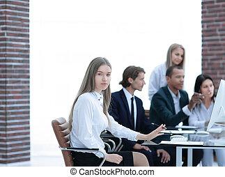 správce, povolání, vytékat, discussing, četa postup