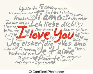 "språk, olik, kärlek, ""i, you"""