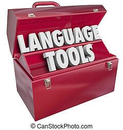 språk, redskapen, toolbox, ord, utländsk, dialekt, inlärning, skola