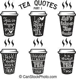 Sprüche, Satz, Tee, Typographie, Zitate, Vektor