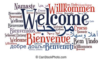 sprachen, phrase, verschieden, herzlich willkommen