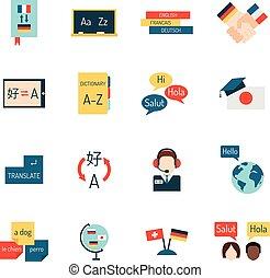sprachen, schule, bildung, vector., lernen
