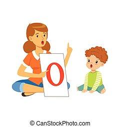 sprachtherapeut, machen, articulately, gymnastisch, mit, kleinkind, junge, in, kindergarten., kinderentwicklung, und, bildung, zentrieren, begriff