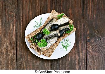 Sprats sandwich, top view