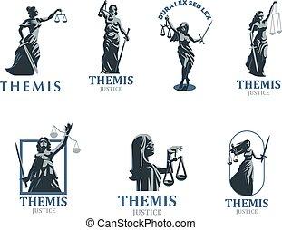sprawiedliwość, bogini, set., vector., themis.