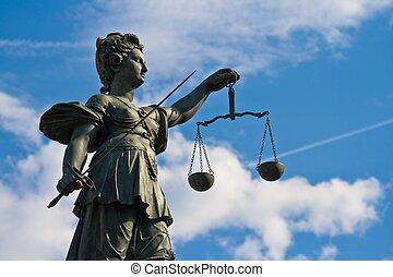 sprawiedliwość, frankfurt, dama, niemcy, statua