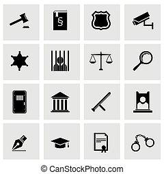 sprawiedliwość, komplet, czarnoskóry, wektor, ikona