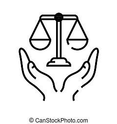 sprawiedliwość, linearny, pojęcie, szkic, ikona, symbol., znak, obietnica, wektor, kreska, ilustracja