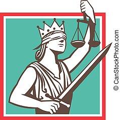 sprawiedliwość, miecz, retro, skwer, wychowywanie, skalpy, ...