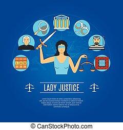 sprawiedliwość, pojęcie, dama, ikony