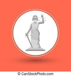 sprawiedliwość, prawo, projektować, statua