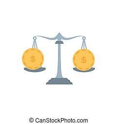 sprawiedliwość, waga, monety, pieniądze