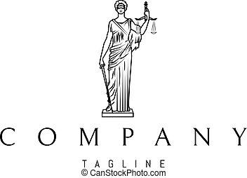 sprawiedliwość, wektor, czarnoskóry, 4, statua, logo, projektować, dama