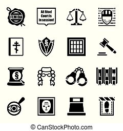 sprawiedliwość, wektor, komplet, ikona
