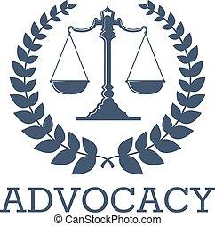 sprawiedliwość, wieniec, advocacy, skalpy, wektor, laur, ikona