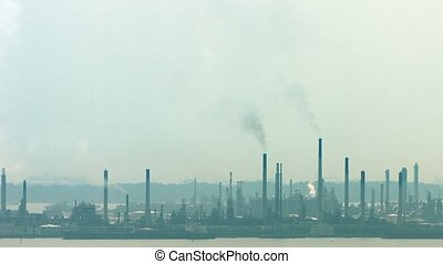 Sprawling Industrial Complex in Extreme Zoom. Video...