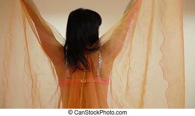 sprawować, taniec, kobieta, brzuch