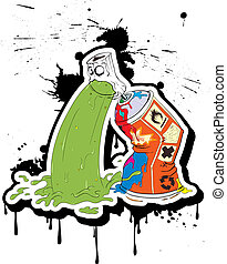 Spray-belches _ Graffiti - Spray paint belches. Vector...