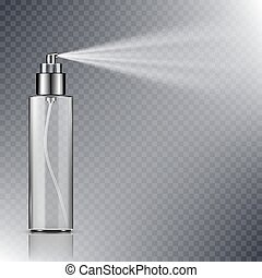 Spray bottle, blank container with spraying mist isolated on...