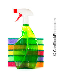Spray bottle for a stack of sponges