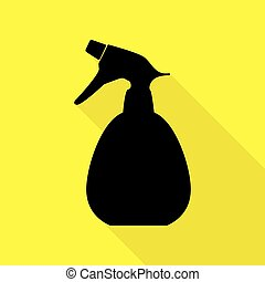 Spray bottle for cleaning sign. Black icon with flat style shadow path on yellow background.