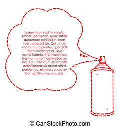 spray bottle lines with gas cloud and text, vector illustration